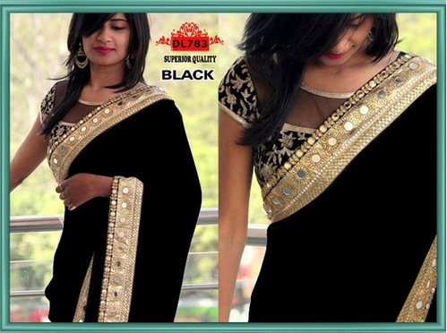 54c05431a7 Georgette & sequin Embroidery work with real glass mirror Black Women &  Girls Party Wear Saree