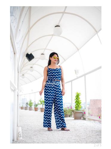 4928beca46de Blue Cotton Striped Jumpsuit
