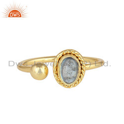 Designer Gold Plated 925 Silver Blue Topaz Gemstone Rings