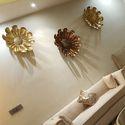 Afs Golden Metal Flowers Wall Art