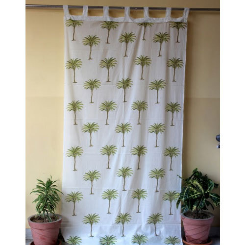 White And Green Tree Design Hand Printed Curtain