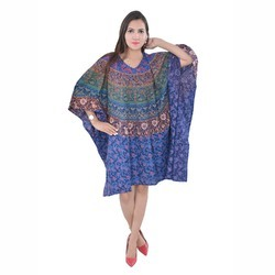 Blue Ladies Cotton Short Kaftan