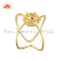Natural Garnet Gemstone Handmade Design Gold Plated Silver Rings