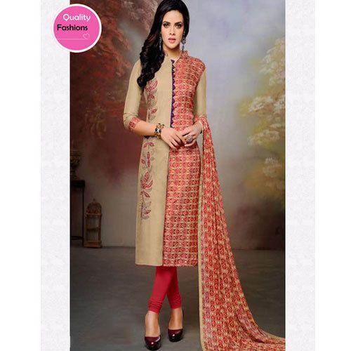 d8fc70c3e Multi-color Chanderi And Cotton Collar Neck Ladies Suit, Rs 799 ...
