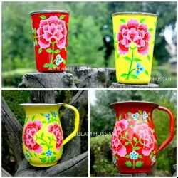 Stainless Steel Painted Drinkware (Kashmir), For Home, Capacity: Assorted