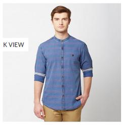 Blue 13A Indigo Dobbies Full Sleeve Trim Fit Shirt