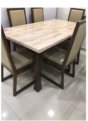 Rectangular Modern Wooden And Marble Dining Table Set Size 60x36 Inch Rs 40000 Set Id 17791640030