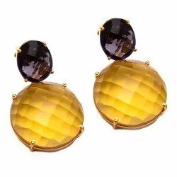 Citrine Hydro & Amethyst Hydro Earrings Gold Plated