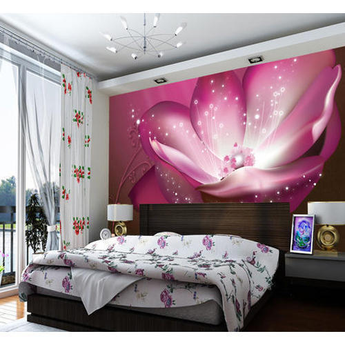 3d Design Bedroom Art Deco: Vinyl And Non-Woven Printed 3D Bedroom Wallpaper, Rs 65