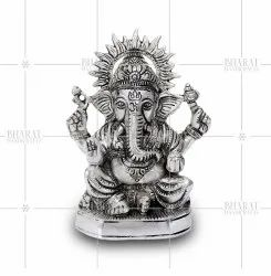 White Metal Ganesh Idol