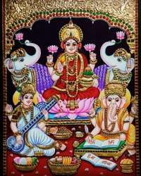 Gajalakshmi, Saraswati and Vinayagar Tanjore Painting