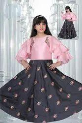 Floral Printed Girls Designer Dress