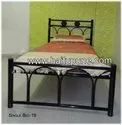 Bed with Wooden Panels and Sliding Table
