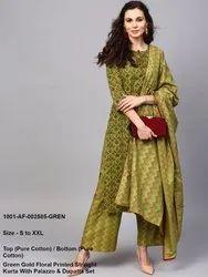 Green Gold Floral Printed Straight Kurta With Palazzo & Dupatta Set