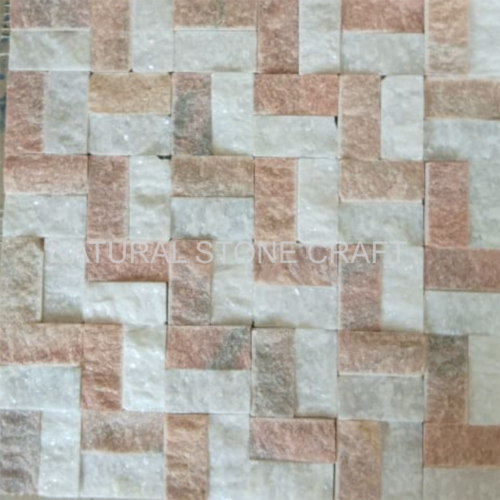 White Pink Natural Stone Exterior Wall Cladding Thickness 10 15