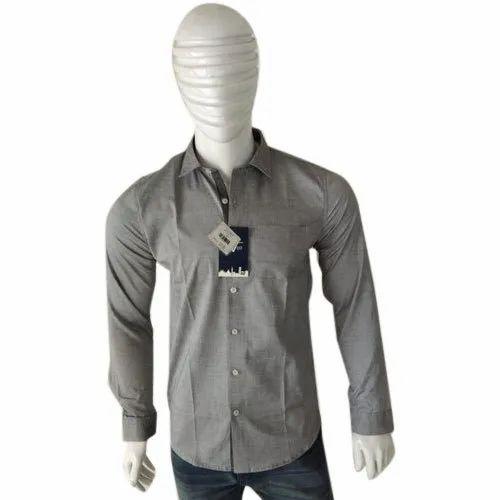 Cotton Collar Neck Mens Casual Plain Shirt