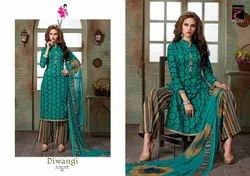 Cotton Party Wear Khushika Unstitched Ladies Printed Suit