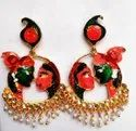 Tops Gold Plated Radha Goinvd Earrings With Meena Painting
