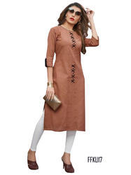 Cotton 3/4th Sleeve Light Brown Kurti, Size: L