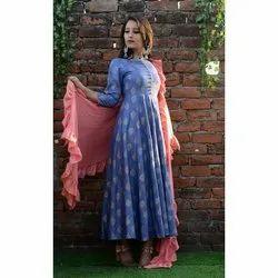 Ladies Rayon Blue Long Kurti