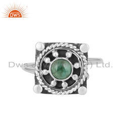 Natural Emerald Gemstone Antique 925 Silver Oxidized Ring Jewelry Manufacturer