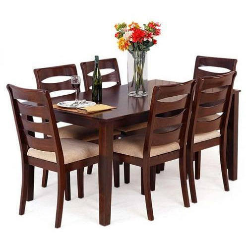 0d5edda9b72 Rectangular Wooden 6 Seater Dining Table Set