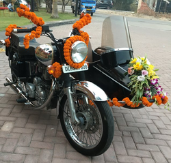 Royal Enfield Chrome With Black Side Car For Rent