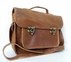 Plain Vintage Brown Genuine leather messenger bag-small, Size: 10*9*4 Inches