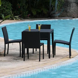 Black Color Coated Wicker Designer Table And Chairs Set, For Poolside