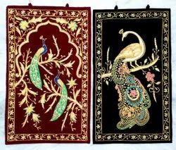 Zardosi Embroidery Peacock Hanging