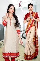 Beige with Red White Tripura Cotton Uniform Saree Kurti Combo