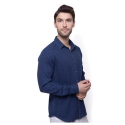 Cotton Blue Mens Polka Dot Printed Shirt, Size: 32-42