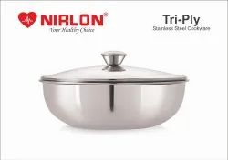 Nirlon Stainless Steel Triply Induction Kadai, 240mm, Steel Aluminum Steel TRI PLY Technology