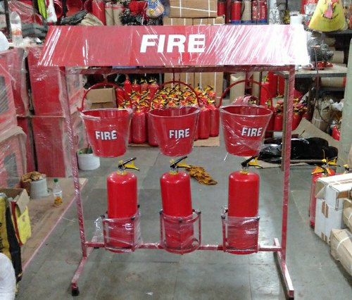 Fire Extinguishers And Fire Bucket Stand