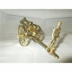 Brass Cannon With Soldier
