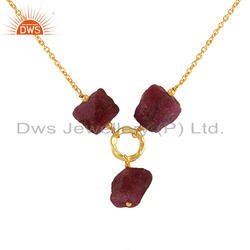 Natural Ruby Gemstone Silver Gold Plated Chain Necklace