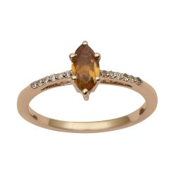 Solitaire Marquise Cut Citrine 9k Yellow Gold Diamond Accents Ring