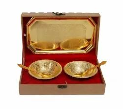24 Ct Gold Plated Dual Bowl With Tray & Spoon