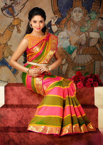 2a65e7080 Green With Pink Wedding , Bridal Wear Ladies Silk Saree, Rs 12950 ...