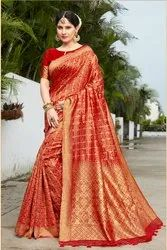 Party Wear Banarasi Silk Woven Sarees with Blouse Piece