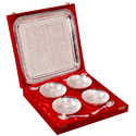 Silver Plated Brass Bowl With Tray Set of 9 Pieces