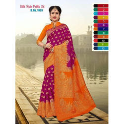 Ladies Silk Embroidered Fancy Saree, Length: 6 m