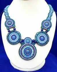 Beads Blue Embroidered Necklace