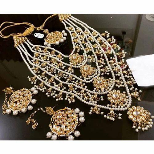 5c6534c05f 5 Layer Bollywood Bridal Kundan Pearl Necklace at Rs 3900 /set ...