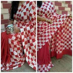Hand Made Printed Malmal Saree