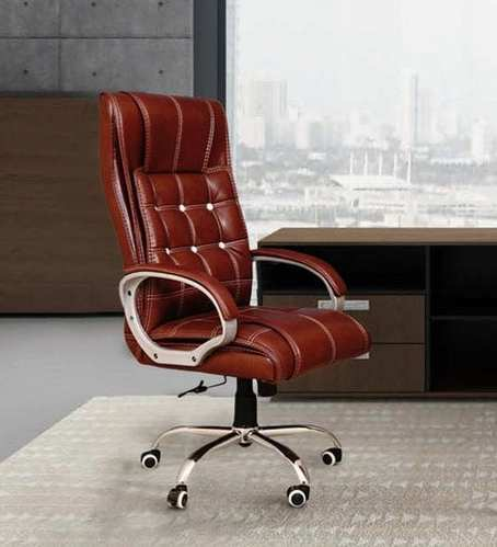 Aares Brown Leather Office Chair Size, Brown Leather Office Chair