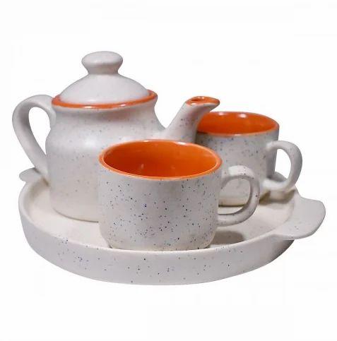 Gallery99 Multicolor Natural Ceramic Clay Tea Pot Tea Plate 2 Tea