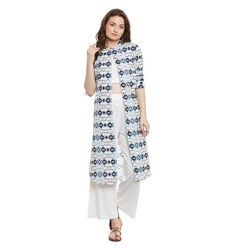 f871c79b42c0 Blue And White Printed, Digital Printed Georgia Long Kurti For Women ...