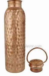 Hammered Pure Copper Bottle with Cap Handle Rings