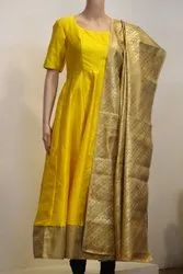 Raw Silk Long Dress with Banaras Dupatta